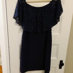 Navy blue lace dress from David's Bridal